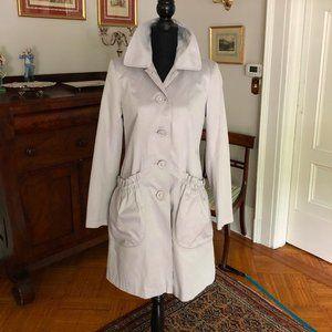 DKNY Cotton Light Gray Rain Coat Gathered pockets
